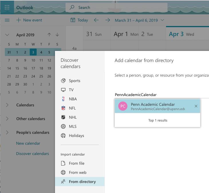 Penn Calendar.How To Add Penn Academic Calendar To Outlook Web Calendar O365